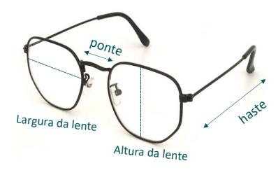 óculos com os nomes de suas partes indicadas