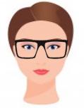 Figura ilustrativa do rosto redondo com os óculos que combinam com ele