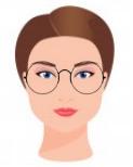 Figura ilustrativa do rosto quadrado com os óculos que combinam com ele