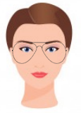 Figura ilustrativa do rosto em coração com os óculos que combinam com ele