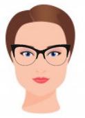 Figura ilustrativa do rosto retangular com os óculos que combinam com ele