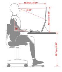 Figura representativa da posição e distâncias corretas que uma pessoa deve estar ao usar um computador